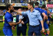 19 May 2018; Isa Nacewa of Leinster with team-mate Jonathan Sexton after his final home game before retirement after the Guinness PRO14 semi-final match between Leinster and Munster at the RDS Arena in Dublin. Photo by Brendan Moran/Sportsfile