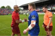 19 May 2018; Simon Zebo of Munster shakes hands with Tadhg Furlong of Leinster following the Guinness PRO14 semi-final match between Leinster and Munster at the RDS Arena in Dublin. Photo by Ramsey Cardy/Sportsfile