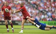 19 May 2018; Simon Zebo of Munster is tackled by Rory O'Loughlin of Leinster during the Guinness PRO14 semi-final match between Leinster and Munster at the RDS Arena in Dublin. Photo by Ramsey Cardy/Sportsfile