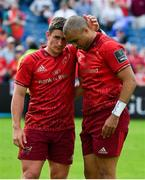 19 May 2018; Ian Keatley, left, and Simon Zebo of Munster after the Guinness PRO14 semi-final match between Leinster and Munster at the RDS Arena in Dublin. Photo by Brendan Moran/Sportsfile