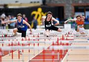 19 May 2018; Athletes, from left, James Sage of St. Josephs Borriosleigh, Co. Tipperary, Harry Nevin of Rochestown College, Co. Cork, and Patrick Ambrose of SMI Newcastlewest, Co. Limerick, competing in the Junior Boys 80m Hurdles event at the Irish Life Health Munster Schools Track and Field Championships at Crageens in Castleisland, Co Kerry. Photo by Harry Murphy/Sportsfile