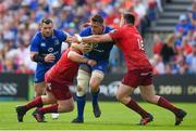 19 May 2018; Jack Conan of Leinster is tackled by John Ryan, left, and Gerbrandt Grobler of Munster during the Guinness PRO14 semi-final match between Leinster and Munster at the RDS Arena in Dublin. Photo by Brendan Moran/Sportsfile