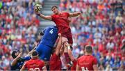 19 May 2018; Gerbrandt Grobler of Munster wins a lineout during the Guinness PRO14 semi-final match between Leinster and Munster at the RDS Arena in Dublin. Photo by Brendan Moran/Sportsfile