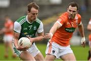 19 May 2018; Lee Cullen of Fermanagh in action against Brendan Donaghy of Armagh during the Ulster GAA Football Senior Championship Quarter-Final match between Fermanagh and Armagh at Brewster Park in Enniskillen, Fermanagh. Photo by Oliver McVeigh/Sportsfile