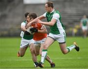 19 May 2018; Andrew Murnin of Armagh in action against Kane Connor, left, and Che Cullen of Fermanagh during the Ulster GAA Football Senior Championship Quarter-Final match between Fermanagh and Armagh at Brewster Park in Enniskillen, Fermanagh. Photo by Oliver McVeigh/Sportsfile