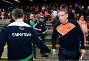 19 May 2018; Fermanagh manager Rory Gallagher and Armagh manager Kieran McGeeney shake hands after the Ulster GAA Football Senior Championship Quarter-Final match between Fermanagh and Armagh at Brewster Park in Enniskillen, Fermanagh. Photo by Oliver McVeigh/Sportsfile