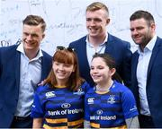 19 May 2018; Leinster supporters pose for a photograph with Leinster players, from left, Josh van der Flier, Dan Leavy and Fergus McFadden  at Autograph Alley prior to the Guinness PRO14 semi-final match between Leinster and Munster at the RDS Arena in Dublin. Photo by Stephen McCarthy/Sportsfile