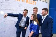 19 May 2018; Leinster players, from left, Josh van der Flier, Dan Leavy and Fergus McFadden with a supporter at Autograph Alley prior to the Guinness PRO14 semi-final match between Leinster and Munster at the RDS Arena in Dublin. Photo by Stephen McCarthy/Sportsfile