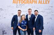 19 May 2018; A Leinster supporter poses for a photograph with Leinster players, from left, Josh van der Flier, Dan Leavy and Fergus McFadden at Autograph Alley prior to the Guinness PRO14 semi-final match between Leinster and Munster at the RDS Arena in Dublin. Photo by Stephen McCarthy/Sportsfile