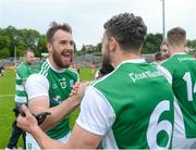 19 May 2018; Sean Quigley and James McMahon of Fermanagh celebrate after the Ulster GAA Football Senior Championship Quarter-Final match between Fermanagh and Armagh at Brewster Park in Enniskillen, Fermanagh. Photo by Oliver McVeigh/Sportsfile