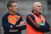 19 May 2018; Armagh manager Kieran McGeeney and assistant manager Jim McCorry during the Ulster GAA Football Senior Championship Quarter-Final match between Fermanagh and Armagh at Brewster Park in Enniskillen, Fermanagh. Photo by Oliver McVeigh/Sportsfile