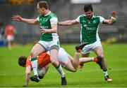 19 May 2018; Andrew Murnin of Armagh in action against Che Cullen and Kane Connor of Fermanagh during the Ulster GAA Football Senior Championship Quarter-Final match between Fermanagh and Armagh at Brewster Park in Enniskillen, Fermanagh. Photo by Oliver McVeigh/Sportsfile