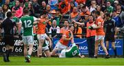 19 May 2018; Brendan Donaghy of Armagh and Barry Mulrone of Fermanagh tussle during the Ulster GAA Football Senior Championship Quarter-Final match between Fermanagh and Armagh at Brewster Park in Enniskillen, Fermanagh. Photo by Oliver McVeigh/Sportsfile