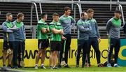 20 May 2018; Limerick players watch the Minor game before the Munster GAA Hurling Senior Championship Round 1 match between Limerick and Tipperary at the Gaelic Grounds in Limerick. Photo by Ray McManus/Sportsfile