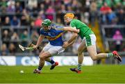 20 May 2018; Jason Forde of Tipperary in action against Richie English of Limerick during the Munster GAA Hurling Senior Championship Round 1 match between Limerick and Tipperary at the Gaelic Grounds in Limerick. Photo by Ray McManus/Sportsfile