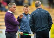 20 May 2018; Linesman Barry Kelly with Offaly's Seán Ryan and Offaly manager Kevin Martin prior to the Leinster GAA Hurling Senior Championship Round 2 match between Kilkenny and Offaly at Nowlan Park in Kilkenny. Photo by Piaras Ó Mídheach/Sportsfile
