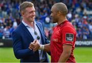 19 May 2018; Simon Zebo of Munster, right, with Dan Leavy of Leinster after the Guinness PRO14 semi-final match between Leinster and Munster at the RDS Arena in Dublin. Photo by Brendan Moran/Sportsfile
