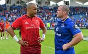 19 May 2018; Simon Zebo of Munster, left, with Jack McGrath of Leinster after the Guinness PRO14 semi-final match between Leinster and Munster at the RDS Arena in Dublin. Photo by Brendan Moran/Sportsfile