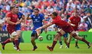 19 May 2018; James Lowe of Leinster in action against Ian Keatley, left, and Gerbrandt Grobler of Munster during the Guinness PRO14 semi-final match between Leinster and Munster at the RDS Arena in Dublin. Photo by Brendan Moran/Sportsfile