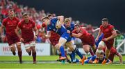 19 May 2018; Garry Ringrose of Leinster is tackled by Ian Keatley of Munster during the Guinness PRO14 semi-final match between Leinster and Munster at the RDS Arena in Dublin. Photo by Brendan Moran/Sportsfile