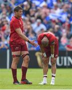 19 May 2018; Gerbrandt Grobler, left, and Simon Zebo of Munster at the final whistle of the Guinness PRO14 semi-final match between Leinster and Munster at the RDS Arena in Dublin. Photo by Brendan Moran/Sportsfile