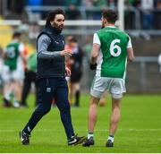 19 May 2018; Fermanagh Assistant Manager Ryan McMenamin giving instructions to James McMahon of Fermanagh during the Ulster GAA Football Senior Championship Quarter-Final match between Fermanagh and Armagh at Brewster Park in Enniskillen, Fermanagh. Photo by Oliver McVeigh/Sportsfile