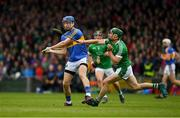 20 May 2018; Sean Finn of Limerick dives in to block a shot by John McGrath of Tipperary during the Munster GAA Hurling Senior Championship Round 1 match between Limerick and Tipperary at the Gaelic Grounds in Limerick. Photo by Ray McManus/Sportsfile