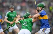 20 May 2018; Sean Finn of Limerick is tackled by Noel McGrath of Tipperary during the Munster GAA Hurling Senior Championship Round 1 match between Limerick and Tipperary at the Gaelic Grounds in Limerick. Photo by Ray McManus/Sportsfile