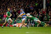 20 May 2018; Seamus Hickey of Limerick dives in to block this shot by Jason Forde of Tipperary during the Munster GAA Hurling Senior Championship Round 1 match between Limerick and Tipperary at the Gaelic Grounds in Limerick. Photo by Ray McManus/Sportsfile