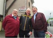 "20 May 2018; From left, Paddy ""The Bishop"" McNamee from Crossmaglen, Co Armagh, Oliver Galligan, Ulster GAA Vice-President and Fr Brian D'Arcy prior the Ulster GAA Football Senior Championship Quarter-Final match between Tyrone and Monaghan at Healy Park in Tyrone. Photo by Philip Fitzpatrick/Sportsfile"