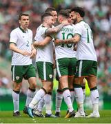 20 May 2018; Alan Browne, 10, is congratulated by his Republic of Ireland XI team-mate Sean Maguire, left, and Derrick Williams, right, after scoring his side's first goal during Scott Brown's testimonial match between Celtic and Republic of Ireland XI at Celtic Park in Glasgow, Scotland. Photo by Stephen McCarthy/Sportsfile
