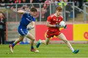 20 May 2018; Cathal McShane of Tyrone in action against Darren Hughes of Monaghan during the Ulster GAA Football Senior Championship Quarter-Final match between Tyrone and Monaghan at Healy Park in Tyrone. Photo by Oliver McVeigh/Sportsfile