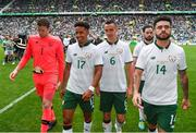 20 May 2018; Republic of Ireland players, from left, Colin Doyle, Callum Robinson, Graham Burke, Greg Cunningham and Derrick Williams following the Scott Brown's testimonial match between Celtic and Republic of Ireland XI at Celtic Park in Glasgow, Scotland. Photo by Stephen McCarthy/Sportsfile