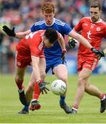 20 May 2018; Lee Brennan of Tyrone in action against Kieran Duffy of Monaghan during the Ulster GAA Football Senior Championship Quarter-Final match between Tyrone and Monaghan at Healy Park in Tyrone. Photo by Oliver McVeigh/Sportsfile