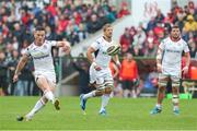 20 May 2018; John Cooney kicks to convert after team-mate, Jacob Stockdale, scored his side's fouth try during the Guinness PRO14 European Play-Off match between Ulster and Ospreys at Kingspan Stadium in Belfast. Photo by John Dickson/Sportsfile