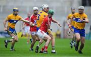 20 May 2018; Seamus Harnedy of Cork contests possession with Conor Cleary and Patrick O'Connor of Clare during the Munster GAA Hurling Senior Championship Round 1 match between Cork and Clare at Páirc Uí Chaoimh in Cork. Photo by Brendan Moran/Sportsfile