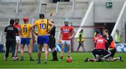 20 May 2018; John Conlon of Clare is shown a yellow card by referee Sean Cleere after a clash with Daniel Kearney of Cork during the Munster GAA Hurling Senior Championship Round 1 match between Cork and Clare at Páirc Uí Chaoimh in Cork. Photo by Brendan Moran/Sportsfile