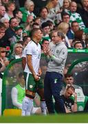 20 May 2018; Republic of Ireland manager Martin O'Neill speaks to Graham Burke during Scott Brown's testimonial match between Celtic and Republic of Ireland XI at Celtic Park in Glasgow, Scotland. Photo by Stephen McCarthy/Sportsfile