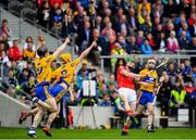 20 May 2018; Seamus Harnedy of Cork in action against Tony Kelly and Colm Galvin of Clare during the Munster GAA Hurling Senior Championship Round 1 match between Cork and Clare at Páirc Uí Chaoimh in Cork. Photo by Brendan Moran/Sportsfile