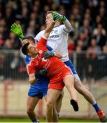 20 May 2018; Ronan O'Neill of Tyrone in action against Ryan Wylie and Rory Beggan of Monaghan during the Ulster GAA Football Senior Championship Quarter-Final match between Tyrone and Monaghan at Healy Park in Tyrone. Photo by Oliver McVeigh/Sportsfile