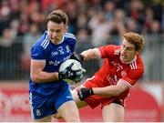 20 May 2018; Fintan Kelly of Monaghan in action against Peter Harte of Tyrone during the Ulster GAA Football Senior Championship Quarter-Final match between Tyrone and Monaghan at Healy Park in Tyrone. Photo by Oliver McVeigh/Sportsfile