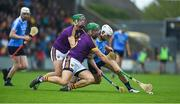 20 May 2018; Matthew O'Hanlon of Wexford in action against Liam Rushe of Dublin during the Leinster GAA Hurling Senior Championship Round 2 match between Wexford and Dublin at Innovate Wexford Park in Wexford. Photo by Daire Brennan/Sportsfile