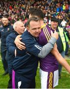 20 May 2018; Wexford manager Davy Fitzgerald celebrates with Paul Morris after the Leinster GAA Hurling Senior Championship Round 2 match between Wexford and Dublin at Innovate Wexford Park in Wexford. Photo by Daire Brennan/Sportsfile