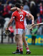 20 May 2018; Sean O'Donoghue, left, and Anthony Nash of Cork celebrate after the Munster GAA Hurling Senior Championship Round 1 match between Cork and Clare at Páirc Uí Chaoimh in Cork. Photo by Brendan Moran/Sportsfile