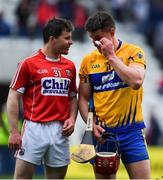 20 May 2018; Daniel Kearney of Cork, left, and John Conlon of Clare after the Munster GAA Hurling Senior Championship Round 1 match between Cork and Clare at Páirc Uí Chaoimh in Cork. Photo by Brendan Moran/Sportsfile