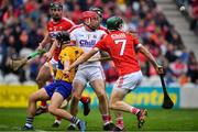 20 May 2018; Cork goalkeeper Anthony Nash clears under pressure from team-mate Mark Coleman and David Reidy of Clare during the Munster GAA Hurling Senior Championship Round 1 match between Cork and Clare at Páirc Uí Chaoimh in Cork. Photo by Brendan Moran/Sportsfile