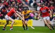 20 May 2018; David Reidy of Clare is blocked by Damian Cahalane of Cork, left, during the Munster GAA Hurling Senior Championship Round 1 match between Cork and Clare at Páirc Uí Chaoimh in Cork. Photo by Brendan Moran/Sportsfile