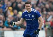 20 May 2018; Conor McManus of Monaghan celebrates after scoring a point near the end of the Ulster GAA Football Senior Championship Quarter-Final match between Tyrone and Monaghan at Healy Park in Tyrone. Photo by Oliver McVeigh/Sportsfile