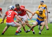 20 May 2018; Conor McGrath of Clare in action against Sean O'Donoghue, left, and Christopher Joyce of Cork during the Munster GAA Hurling Senior Championship Round 1 match between Cork and Clare at Páirc Uí Chaoimh in Cork. Photo by Brendan Moran/Sportsfile