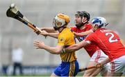 20 May 2018; Conor McGrath of Clare in action against Mark Ellis and Sean O'Donoghue of Cork during the Munster GAA Hurling Senior Championship Round 1 match between Cork and Clare at Páirc Uí Chaoimh in Cork. Photo by Brendan Moran/Sportsfile